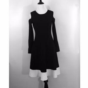 NWOT Eliza J Black & White Cold Shoulder Dress